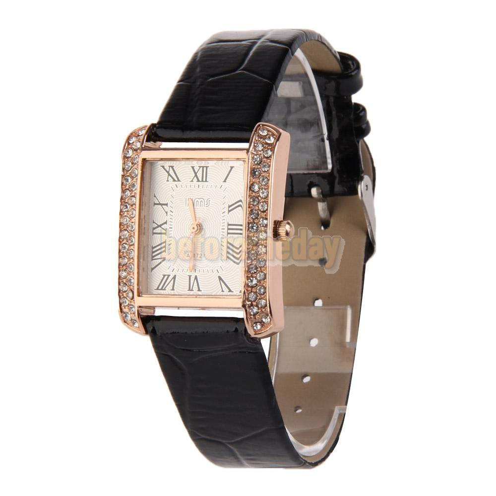 BETR Hot New PU Leather Band Ladies Watch Alloy Square Diamante Face Black