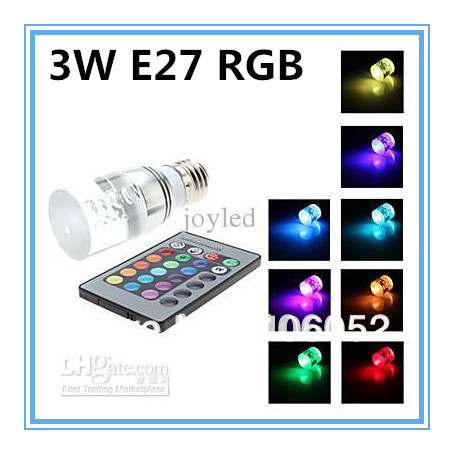 Energy saving+Remote Control 16 Colors Changing RGB LED Lamp 3W E27 RGB LED Bulb 85-265V RGB light 2PCS/lot(China (Mainland))