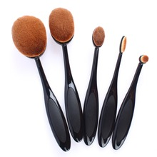 5 Piece Black Oval Toothbrush Cosmetic Makeup Brushes Tools Face Foundation Powder Oval Makeup Brush Set Synthetic Pincel #84259(China (Mainland))