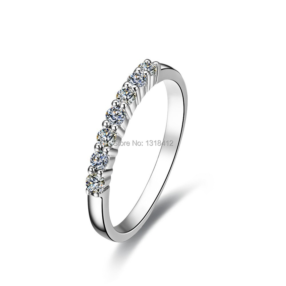Seven Stones 0.21 Ct Ring Xmas Gift Sona Simulant Diamond engagement solid silver ring side stones setting(China (Mainland))