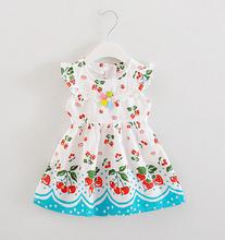 Baby girls dress cotton print baby clothes princess dress kids flower lace up 2017 new summer dress(China)