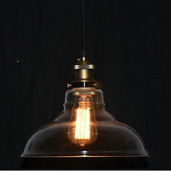 Фотография 1 Light American Loft Style Edison Bulb Vintage Industrial Pendant Lamps With Transparent Shade,Bulb Included E27