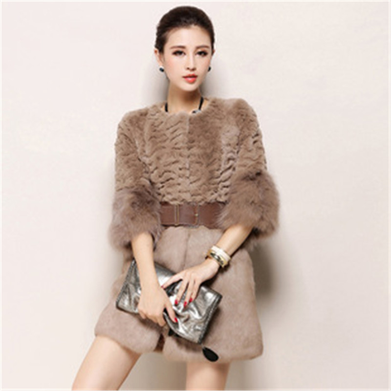 Fashion Plus Size Women Clothing 2015 Winter Long Warm Faux Fur Coat Jacket Femininos Fox Collar Outwear LJ3459