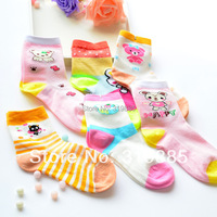 5 pairs/lot high quality 100% cotton breathable mesh socks children suitable cartoon socks for 3-8 years girls