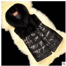 Womens Winter And Autumn Black Casual Faux Fur Sleeveless Jacket Pu Leather Leisure Patchwork Vests Large Size Waistcoats J1378