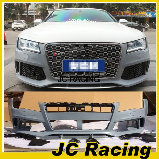 PP Unpainted Auto Car Styling accessories Front Bumper Body Kit with grille For Audi (Fits for A7 RS7 2013UP)(China (Mainland))