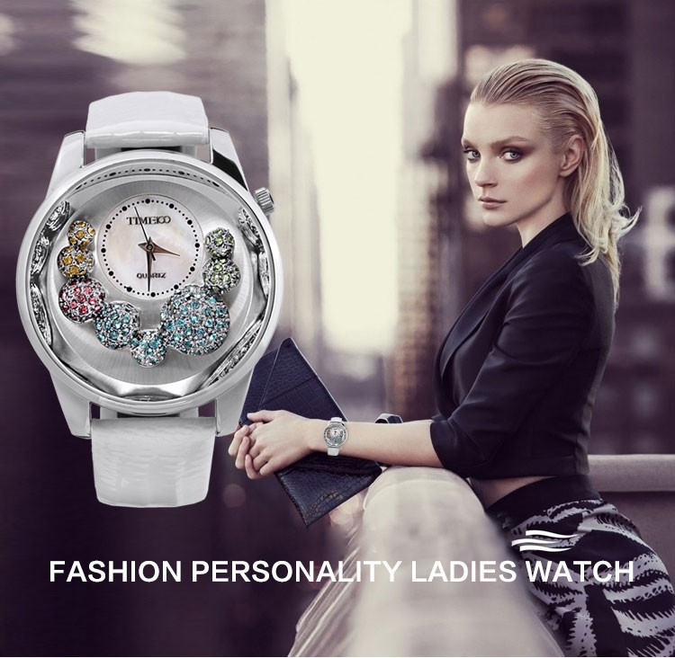 TIME100 Women's Watches White leather Strap Big Shell Dial Casual Dress Quartz Watches Laides Wrist Watch Gift  Relogio Feminino