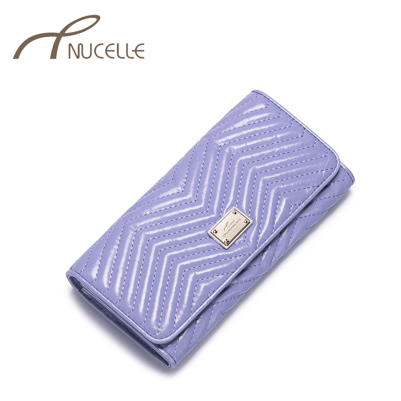 Nucelle Genuine Leather Women Wallets Ladies Brief Sewing Thread Fashion Long Style Clutch Purse Solid Female Money Clips NZ5316<br><br>Aliexpress