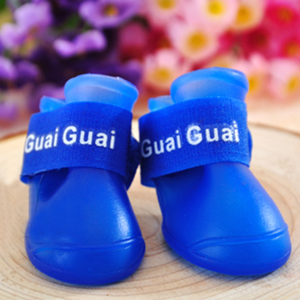Pet Dogs Shoes Colorful Waterproof Booties Rubber Shoes Rain Boots 4Pcs/Set(China (Mainland))