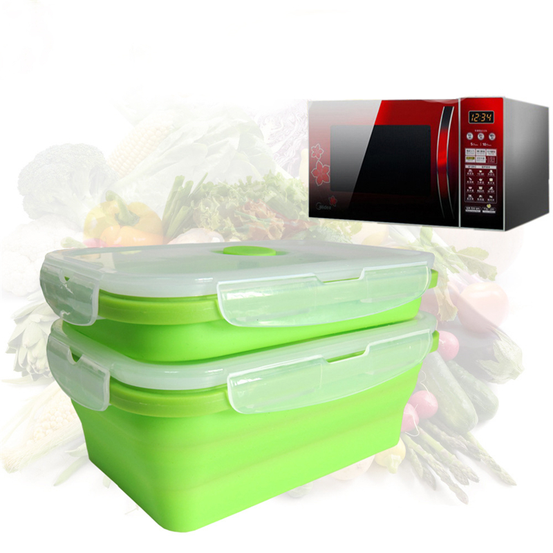 2016 New Silicone Collapsible Portable Lunch Box Bowl Bento Boxes Folding Food Storage Container Lunch box Eco-Friendly(China (Mainland))