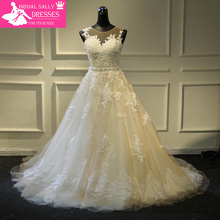 Buy New Arrival Sexy A-Line Lace Wedding Dress 2017 Romantic Robe De Mariage Vestido De Noiva Sheer Backless Bride Dresses WJEN3 for $214.50 in AliExpress store