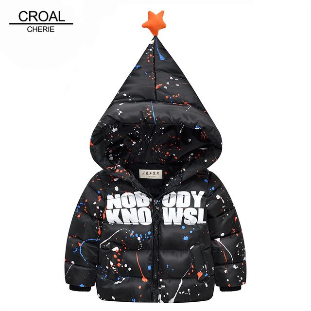 70-110 см Дети Мальчики Верхняя Одежда Зимняя Куртка С Капюшоном Детские Девушки Зимнее Пальто Мода Sharp Шляпу Смазливая Звезда Ребенка одежда Snowsuit