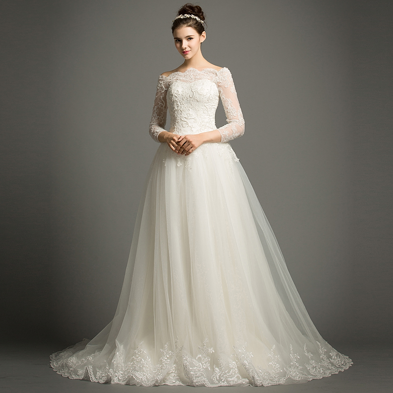 Dhg624 elegant beautiful long lace wedding dresses bridal for Elegant long sleeve wedding dresses