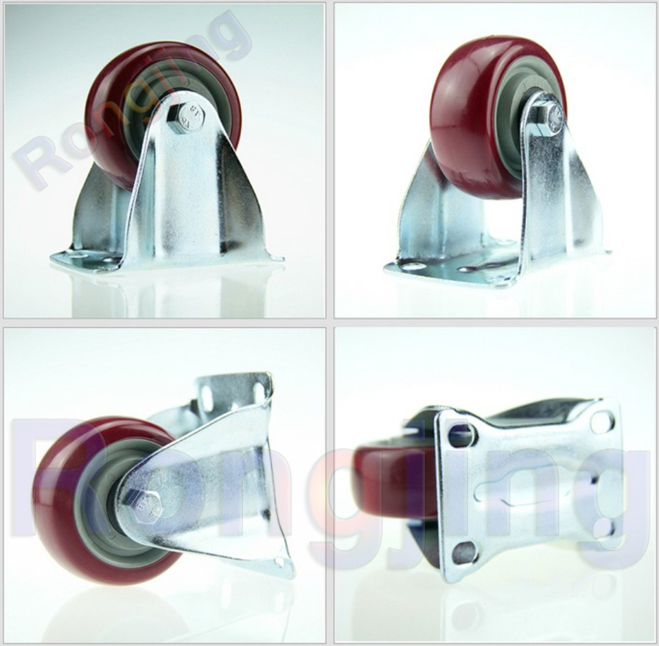 New 3'' Furniture Fixed Caster Polyurethane PU Wear-resisting Wheel Palted With Double Bearing Castors(China (Mainland))