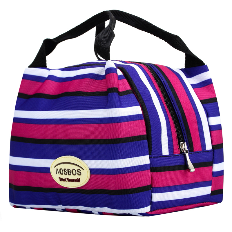 Free shipping thermal Canvas Stripe multicolor picnic Lunch Bag box Portable Insulated cooler bag For women