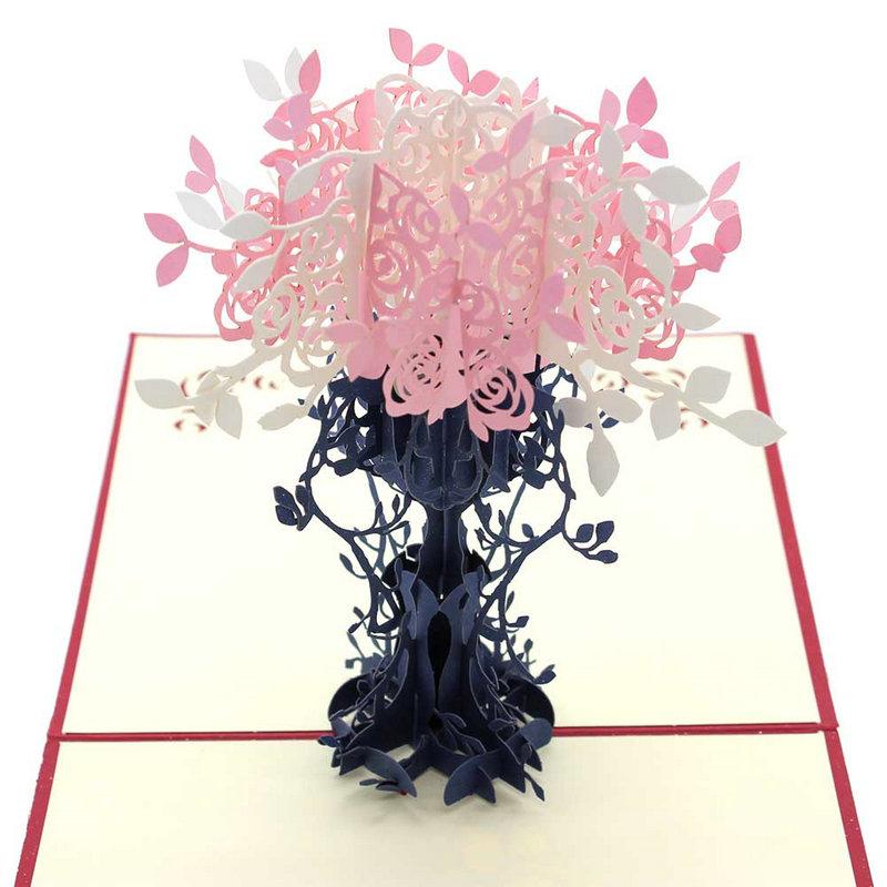Handmade 3D POP UP Flower Flowerpot Card Handmade Best Wish Greeting Card Birthday Gift Card Easter Day Paper Craft(China (Mainland))