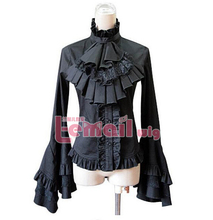 Free Shipping Black White Long Sleeve Cotton Vintage Gothic Lolita Blouse(China (Mainland))