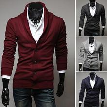 Free Shipping 2014 New Arrival Fashion Stylish Slim Fit Mens Sweater Big v-neck Long Sleeve Knitted Cardigan Men(China (Mainland))