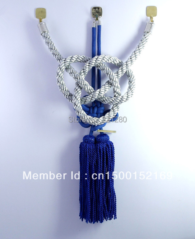 ONE SET JP JUNCTION PRODUCE CAR SILVERY KIN TSUNA ROPE & BLUE FUSA KIKU KNOTS FOR CAR REARVIEW MIRROR(China (Mainland))