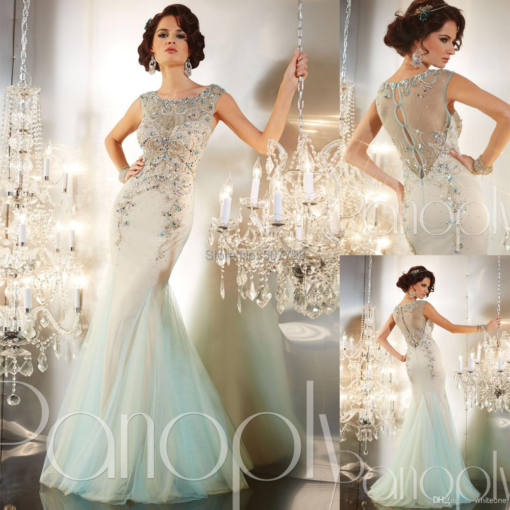2015 Beaded Crew Neck Long Women Vestidos Gown Crystals Tulle Floor Length Mermaid Prom Dresses Illusion Backless - DRESS A store