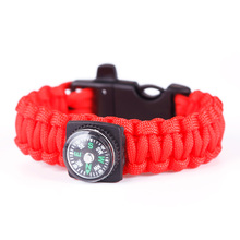 New Portable Tactical Paracord Survival Bracelet Wrist Band Rope With Compass Whistle#68770(China (Mainland))