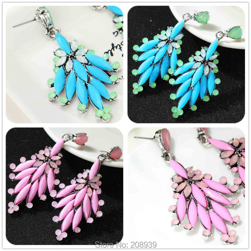 NEW Women's fashion Rocking Earrings Blue /Pink Leaf sweet metal with gems stud crystal big earring for women girls(China (Mainland))