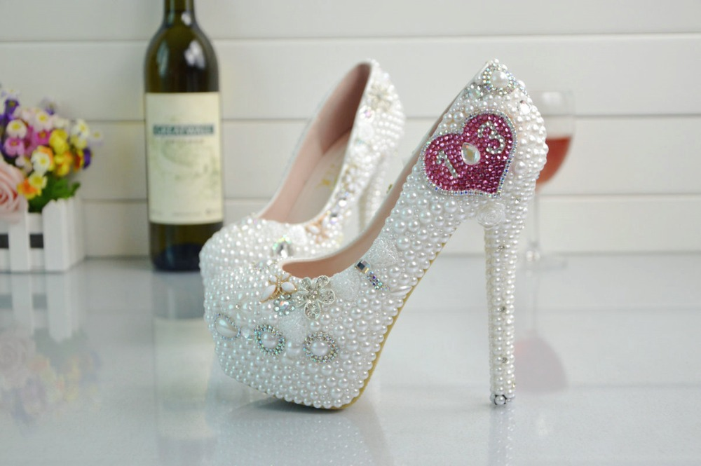 New large size white crystal wedding shoes bridesmaid bridal party Higher heel shoes fo woemn(China (Mainland))