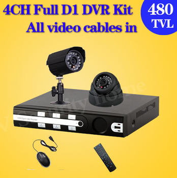 480TVL Camera Surveillance Video System Home 4CH Full D1 H.264 DVR Kit CCTV Night Weatherproof Security DIY CCTV Camera System