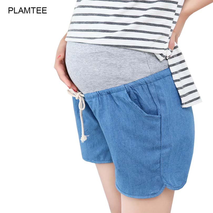 Solid Thin Demin Shorts Embarazada Split Plus Size Maternity Jeans Pants Shorts for Pregnant Women Shorts Maternity Short Jeans(China (Mainland))