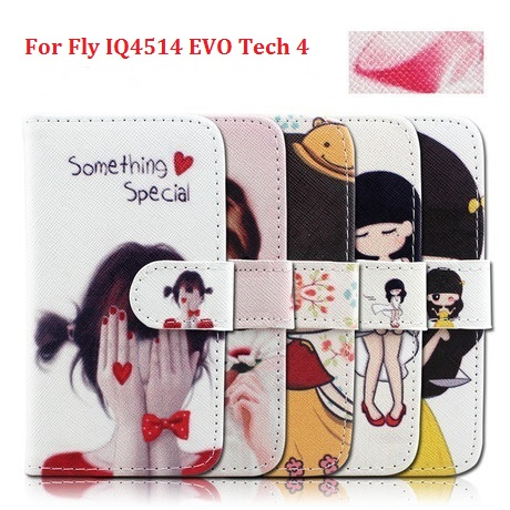 New Cheap Cell Phones Cover with Credit Card Slot Stand Flip Leather Wallet Cartoon & Fashion Case for Fly IQ4514 EVO Tech 4(China (Mainland))