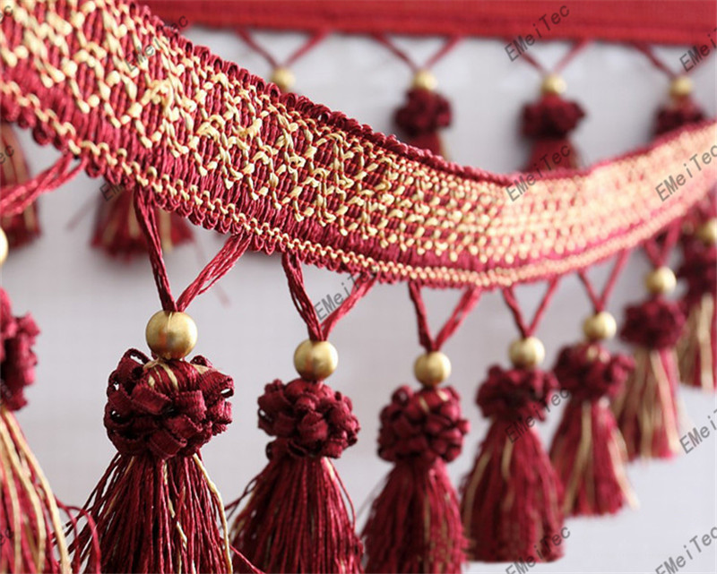 12M Multicolor 11cm Copper beads Strawberry Fine quality curtain tassel fringe trim lace ribbon fabric Decorative Accessories(China (Mainland))