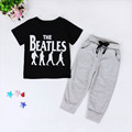New Summer Toddler cute Letter Print Tops T shirt Long Pants Trousers Clothing Fashion Set Free