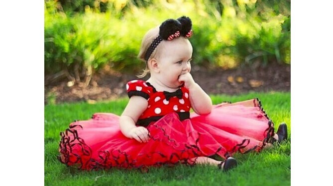 2015 girls Minnie Mouse dress Party Christmas Costume Ballet Dress 12M-3Y Kids free shipping minnie mouse costume(China (Mainland))