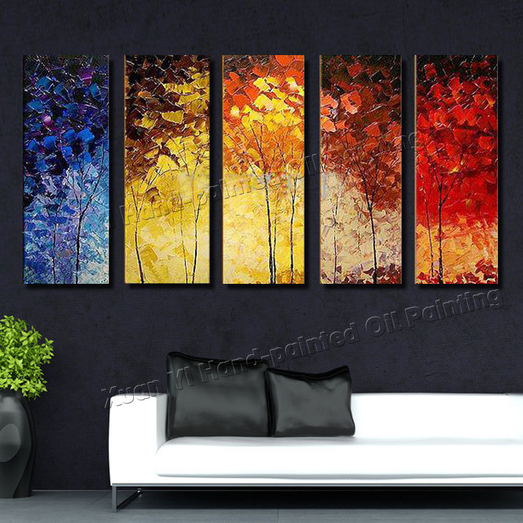 5 piece canvas wall art hand painted palette knife oil painting colourful trees decor home Home decor survivor 6
