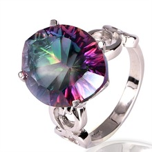 mystic quarts mystic topaz ring 925silver plated for women fashion jewelry, popular style in fine jewelry(China (Mainland))