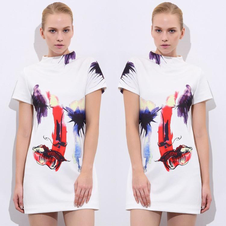 2016 Women Summer dress Fashion new short sleeves head printed dress White dress novelty Graffiti Flowers Mini dresses(China (Mainland))