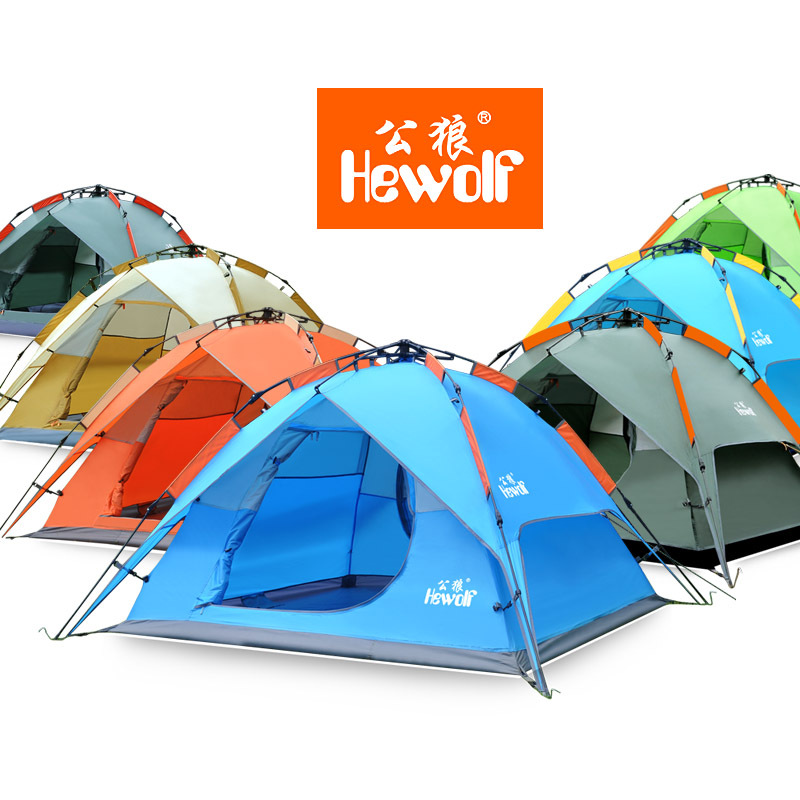 Hewolf outdoor tent double 3 4 people camping gear automatic speed open tent camping kit
