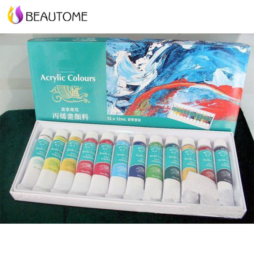 Pro 12pcs Colors Pro Acrylic Paint Nail Art Design 3D Painting Pigment Gel Tips Tube Set hot sell(China (Mainland))