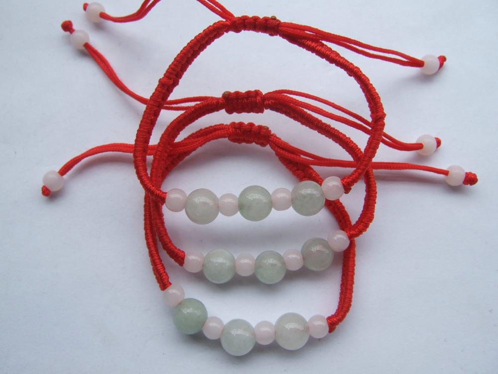 1pc Chinese Red Lucky Bracelet Women Silk Twist Cord Cat Eye Natural Jade Stone Beads Braid Friendship Bracelets(China (Mainland))