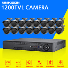Buy 16 channel security 1200TVL video surveillance outdoor camera kit 16ch AHD CCTV DVR recording HDMI 1080P CCTV system for $404.99 in AliExpress store