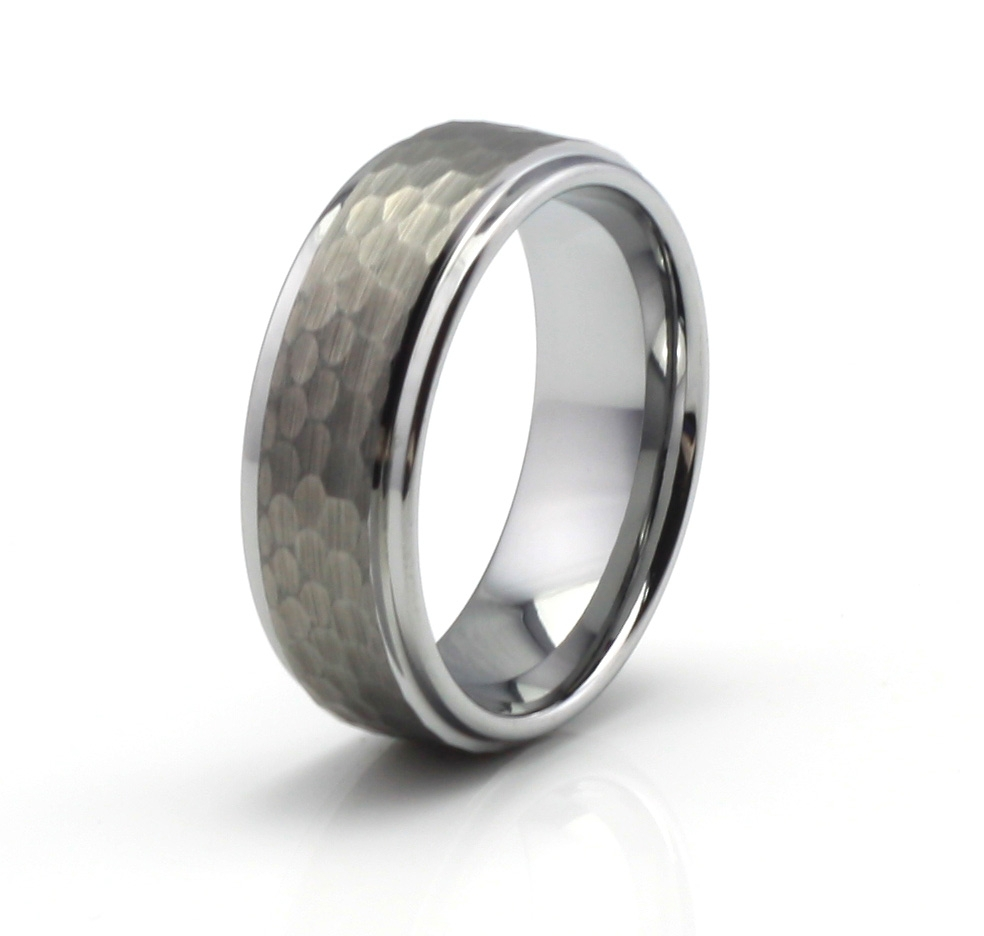 Customized 9mm men s hammered tungsten carbide engagement for Tungsten wedding ring reviews