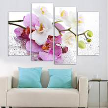 Buy 4 Pcs Hot sales HD Large flowers painting home decorate modern art sitting room bedroom impression canvas wall painting mo for $7.69 in AliExpress store