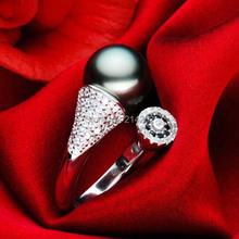 free shipping AAA 10-11mm black Tahiti pearl ring H5#(China (Mainland))