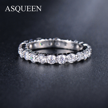 ASQUEEN Newest White Gold Plated 3mm 0.1 Carat Round CZ Simulated Diamond Wedding Eternity Rings Bands For Women Jewelry AUR0279(China (Mainland))