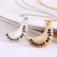 Trendy the Moon of my life gold and silver fashion moon pendant necklace for men and Women long Plated  Enamel Jewelry
