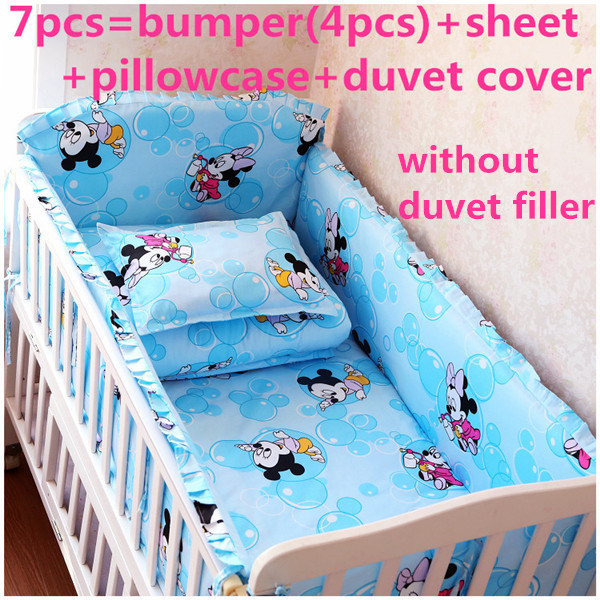 Promotion! 6/7PCS Cartoon Baby Bedding Set Baby cradle crib cot bedding set Quilt Cover  ,120*60/120*70cm<br><br>Aliexpress
