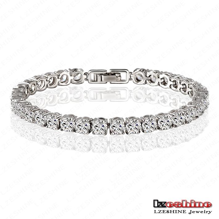 Big Sale 80% LZESHINE Round 0.5 Carat Cubic Zirconia Tennis Micro Inlay Bracelets & Bangles Charm Bijoux Pulseras CBR0005-B(China (Mainland))