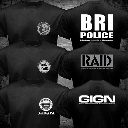 2016 France French Special Elite Police Forces Unit GIGN Raid BRI Black T shirt Tee Mens Short Sleeve tshirt homme 100% Cotton(China (Mainland))