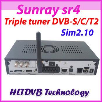 2pc/lot Satellite TV Receiver Sunray sr4 800se wifi Enigma2 sunray sr4 dvb-s2/c/t2 triple tuner 400mhz CPU sunray free shipping
