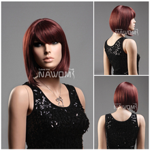 Free Shipping Ms. short graceful wig dynamic straight natural wig Discount fashion Red wine bob style wigs looks very smooth(China (Mainland))